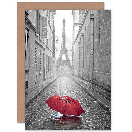 FINE ART PRINTS Eiffel Tower In Paris Red Umbrella Greeting Card with Envelope Inside Premium Quality Eiffelturm Regenschirm