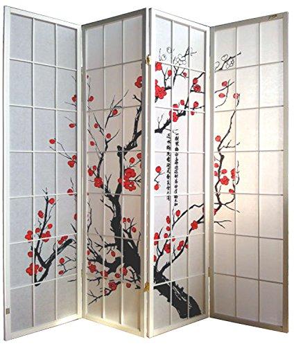Pantalla de madera y papel de arroz con 4 puertas. Modelo Cherry Color blanco