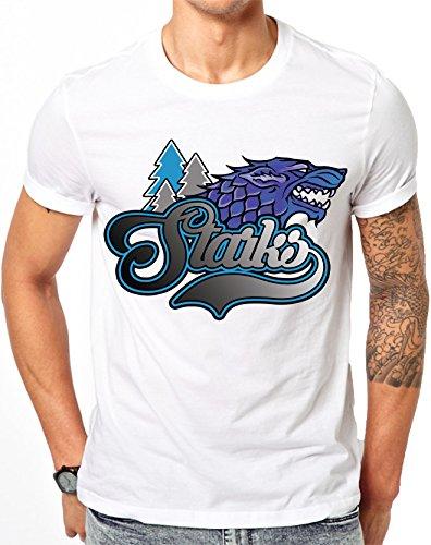 Juego de Tronos Starks fútbol béisbol baloncesto blanco T Shirt, Blanco, large