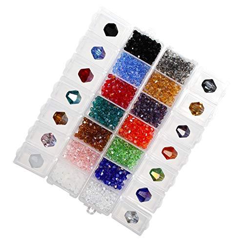 Perline sfaccettate (1400 pezzi) - gemme vetro soffiato sfaccettato in organizer con 14 scomparti-perline acriliche artigianato per bracciali, collane, portachiavi, ricamo, creazione gioielli