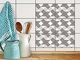 Carrelage Autocollant Sticker | Rangement cuisine - Décoration autocollante | Motif Triangle Pattern - Gris | 20x15 cm (6 pièces)...