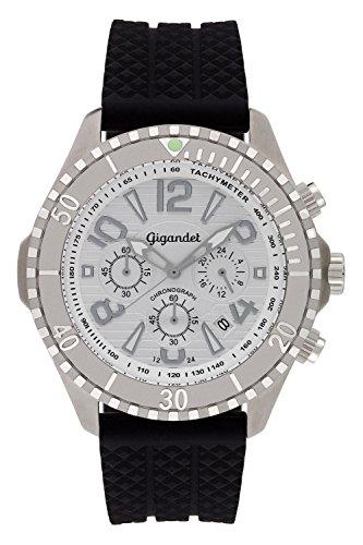 Gigandet Reloj de Hombre Cuarzo Aquazone Cronógrafo Reloj Submarinismo Analógico Silicona Plata Negro G23-001
