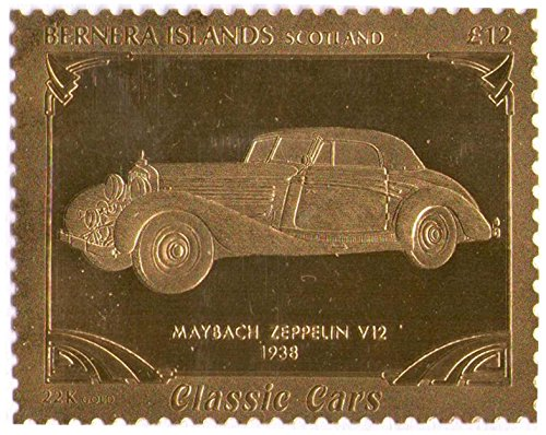 iles-bernera-ecosse-classic-cars-maybach-zeppelin-v12-1938-feuille-dor-timbre-perfore-valeur-nominal