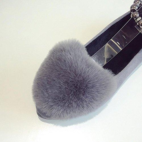 DM&Y 2017 version cor¨¦enne du lapin coloration pur bouche chaussures plates chaussures Peas banquet en peluche soulign¨¦ chaussures Grey