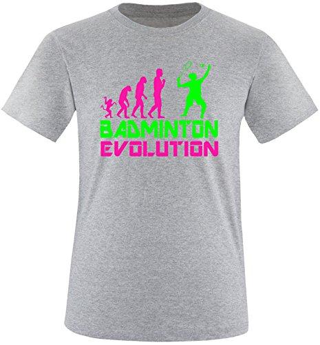 EZYshirt® Badminton Evolution Herren Rundhals T-Shirt Grau/Pink/Neongr