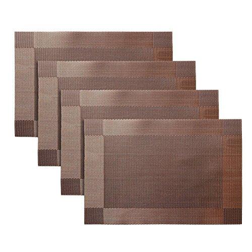 DELEY 4er Set PVC Tischsets Placemats Hitzebeständig Waschbar Isolierung Rutschfeste Tischmatten Platzmatten Platzsets Braun