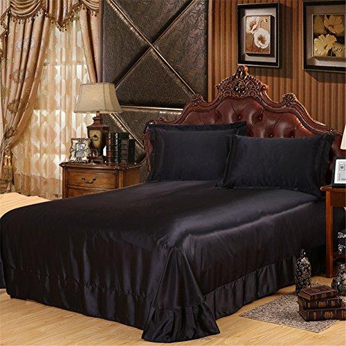 Shamdon Home Collection Glanz Satin Bettbezug Bettwäsche Set Bettwaren Set mit Kissenbezüge in 3 Größen 13 Farben