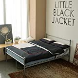 EGGREE Double Bed Solid Metal Beds Frame Heart-Shaped with Large Storage Space For Adults , Silver