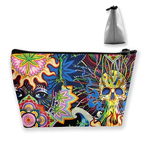 Psychedelic Pot Leaf Skull Loom Showroom Womens Travel Cosmetic Bag Portable Toiletry Brush Storage Print Pen Pencil Bags Accessories Sewing Kit Pouch Makeup Carry Case