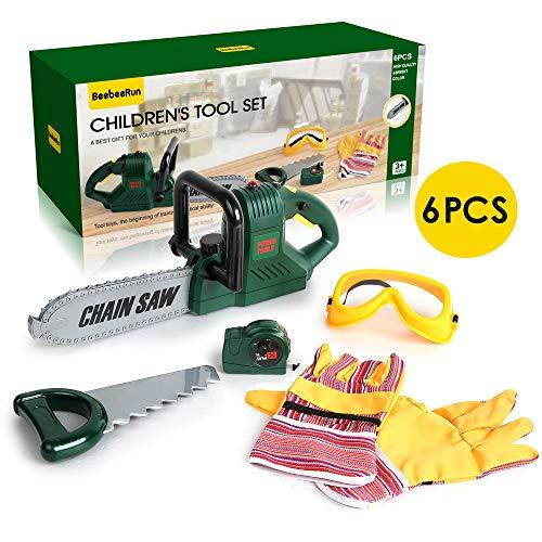 BeebeeRun 6 teiliges Spielzeug-Kettensäge Set,Kinder Werkzeug Set,Werkzeugset für Kinder,Werkzeug Spielzeug Set, Pädagogisch und Rollenspiel für Kleinkinder für 2 3 4 jährige Mädchen Jungen