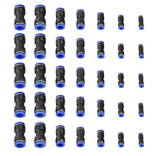 Raccordo Aria, Akozon 35pz Raccordo Pneumatico Giunto Filettato Rapido Dritto Esterno Filetto Raccordo Aria Adattatore Rapido 4/6/8/10/12/14/16mm