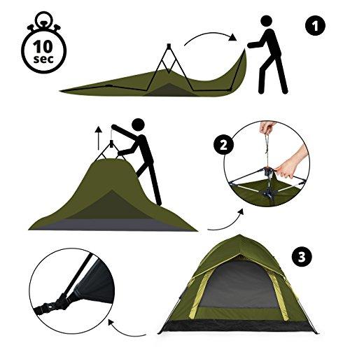 Lumaland Outdoor leichtes Pop Up Wurfzelt 3 Personen Zelt Camping Festival etc. 210 x 190 x 110 cm robust Grün - 6