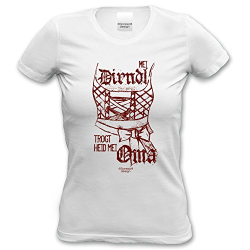 93e15418bb ... Volksfest Oktoberfest Trachtenshirt Farbe: weiss Weiß. Mei Dirndl trogt  heid mei Oma Damen-Mädchen-Girlie-T-Shirt lustiges
