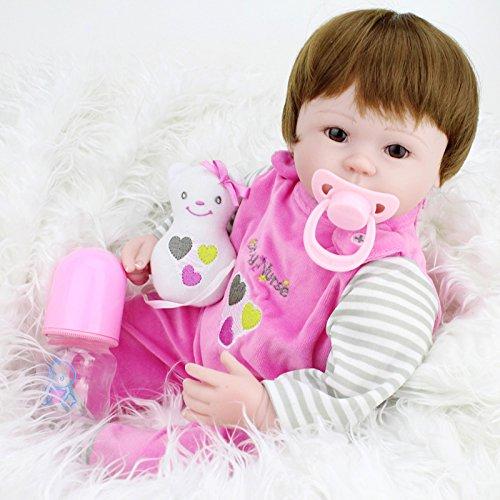 Reborn Baby-Puppe Babypuppen,Vinmax 22 Zoll 55 cm Reborn Baby Dolls Weich Simulation Silikon Vinyl Magnetisch Mund lebensechte Boy Girl dolls Mädchen Spielzeug Rosa + Kleidung (18'' 45cm) (Lippen Behandlung Feuchten)