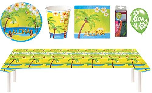 Karneval-Klamotten Sommer-Party Deko Hawaii Aloha 49 Teile Teller Becher Servietten Tischdecke Luftballons Set XXL