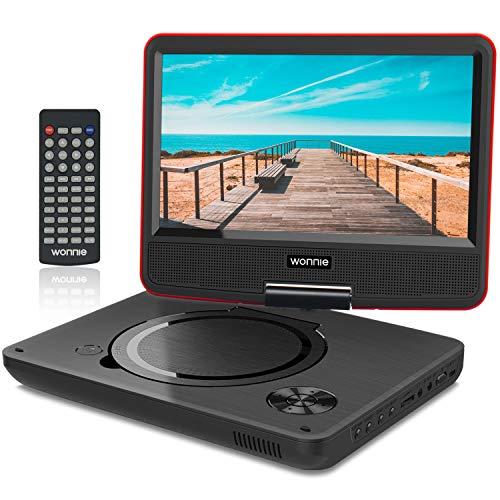 WONNIE 11.5' Lecteur DVD Portable avec écran Rotatif DE 9,5' à 270°,Carte SD et Prise USB avec Charge directe Formats/RMVB / AVI / MP3 / JPEG, Parfait pour Enfants (Rouge)
