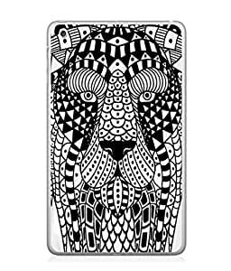 PrintVisa Black Clipart Lion High Gloss Designer Back Case Cover for Apple iPad Mini 4 :: Apple iPad Mini 4 Wi-Fi + Cellular (3G/LTE); Apple iPad Mini 4 Wi-Fi (Wi-Fi, W/o GPS)
