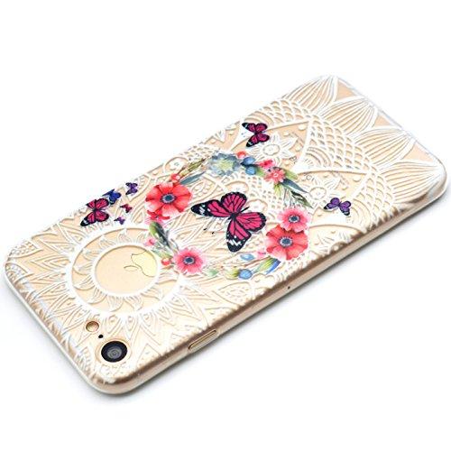 Ultra Dünn TPU weich flexibel Colorful Vinylfolie Muster Design Jelly Schutz Gel Case Cover Skin für Apple iPhone 7(11,9cm) Circle Boquet Pink Butterflies