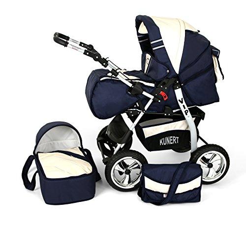 Clamaro 2 in 1 'VIP 2016' Kombi Kinderwagen aus Aluminium inkl. Soft Babywanne und Sport Buggyaufsatz - Luft Bereifung (Alu) - 68. Blau / Creme