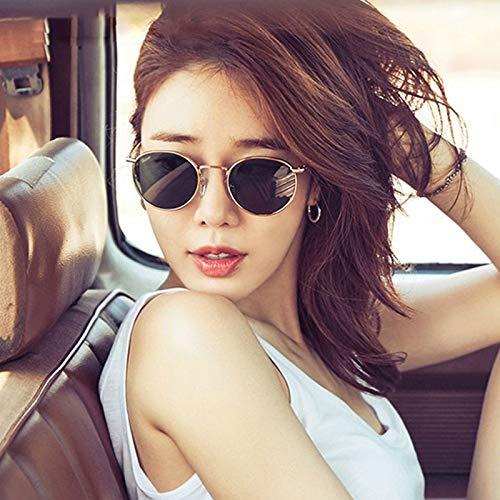 CFLFDC Sonnenbrillen Retro Small Frame Sunglasses-uv400 Sonnenbrille Dame Und Herrenbrille Weibliche Myopische Sonnenbrille Flut Golden Frame Black Stück oval Abschnitt