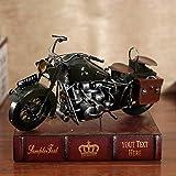 Statue Scultura,Modelli di Moto Desktop Decor Retro Motocicletta Harley Davidson Ferro creatività-Verde 13.8x7 Pollice