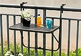 Balkonhängetisch 60x40cm-JAUTO Balkontisch zum Einhängen aus Streckmetall & Kunststoffummantelung - Klapptisch für kleinen Balkon - Hängetisch klappbar & witterungsbeständig - Outdoor-Tisch