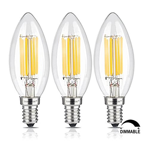 TAMAYKIM 6W Dimmable LED Filament Candle Light Bulb, 2700K Warm White 600LM, E14 Candelabra Base Lamp, C35 Torpedo Shape Bullet Top, 60W Incandescent Replacement, 3 Pack