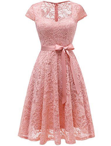 Auplus Brautjungfernkleid Damen Spitzenkleid Knielang Cocktailkleid Partykleider Blush M