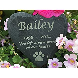 Nooster Designs Personalised Engraved Slate Stone Heart Pet Memorial Grave Marker Plaque 51g 2BFSUPk1L
