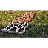 Paving Plastic - Stampo in cemento per pavimentazione con pietre in plastica da giardino, 60 x 60 x 6 cm