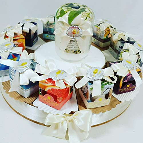 Bomboniere candele profumate per comunione con magnete argento (torta 12 fette 1 piano)
