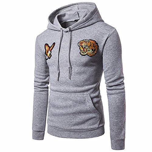 IMJONO Jacket,iHENGH Neujahrs Karnevalsaktion Herrenkleidung Men es Long Sleeve Stickerei Hoodie Hooded Sweatshirt Tops Jacket Coat Outwear(Medium,Dunkelgrau)