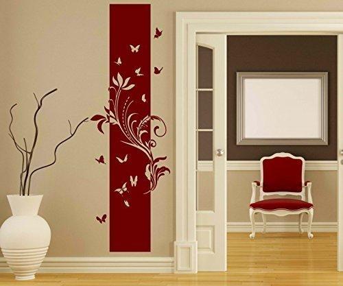 Wandtattoo Banner Blumen Ranke Blätter Floral Deko Schmetterlinge Streifen Blüten Flur Wandaufkleber Wohnzimmer 1U212, Farbe:Rot Matt;Höhe Banner:180cm
