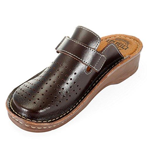 Dr Punto Rosso BRIL D52 Sabots Mules Chaussons Chaussures en Cuir Femme Dames Marron