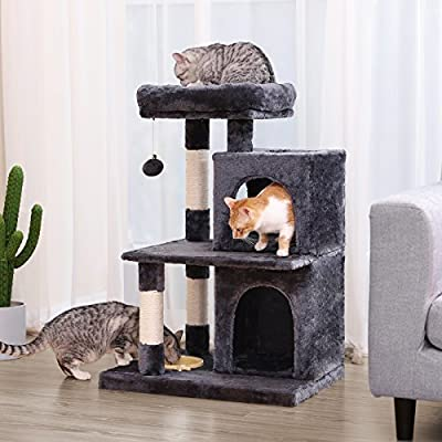 FEANDREA Multi-Level Cat Tree with Feeder Bowl, Sisal-Covered Scratching Posts, Dual Condo, Activity Centre Playhouse Cat Tower Furniture, Smoky Grey PCT57G from FEANDREA