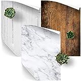 Fotohintergrund, für flache Fotos, Naturholz, weißes Holz und weißes Marmor, A1-Größe, Vinyl, für Lebensmittel, Produkte und Mode, 3er-Pack