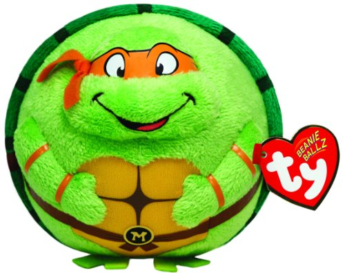 Turtle Mutant Teenage Ninja Orange (TY 7138256 - Teenage Mutant Ninja Turtles Ball - Michelangelo, Durchmesser 12 cm, Beanie)