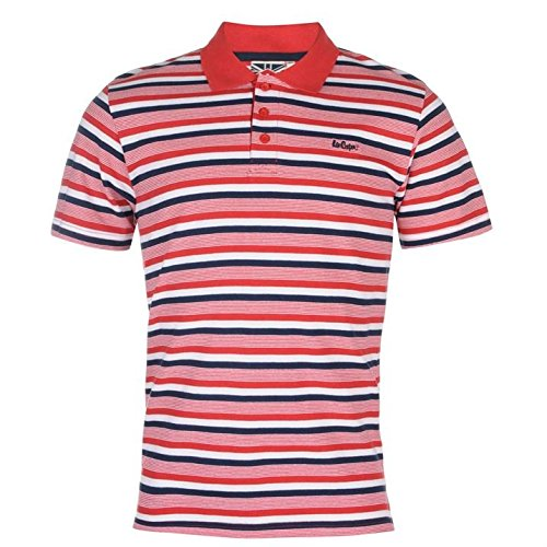Lee Cooper Herren Gestreift Polo Poloshirt T Shirt Kurzarm Freizeit Tee Top L (Hat T-shirt Lee)