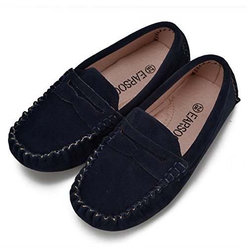 Earsoon Kids Suede Leather Loafers Shoes Boys Girls Classic Slip-On Loafers Oxford Shoes (Toddler Little Child)