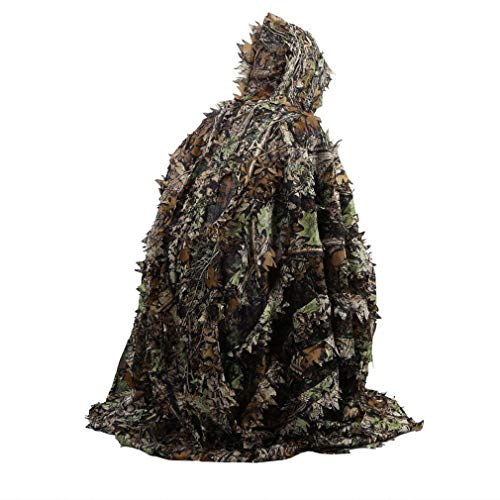 Leoboone Lifelike 3D Leaves Camouflage Poncho Cloak Stealth Suits Outdoor Woodland CS Game Clothing for Hunting Shooting Free People-poncho