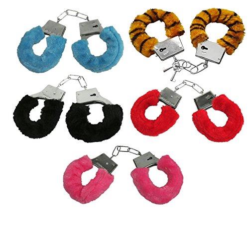 Preisvergleich Produktbild Handschellen Handfesseln Plüsch Scherzartikel Plüschhandschellen Hand Schellen - Mit Sicherheitshebel und 2 Schlüsseln - (rosa)