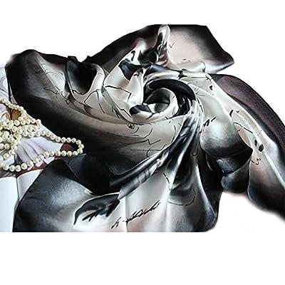 ANKKO Blume Square Seidenschal Schal wickeln weiß schwarz Kopfschmuck von ANKKO auf Outdoor Shop