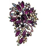 EVER FAITH® österreichisches Kristall Elegant Blume Blätter Art Deco Brosche Modeschmuck Lila Gold-Ton A02600-46