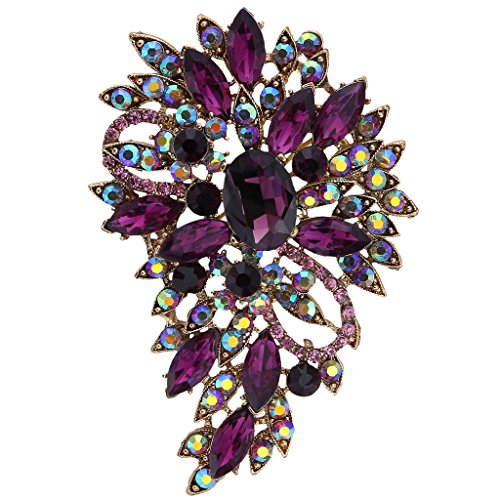 EVER FAITH® österreichisches Kristall Elegant Blume Blätter Art Deco Brosche Modeschmuck Lila Gold-Ton (Modeschmuck Gold Lila Und)