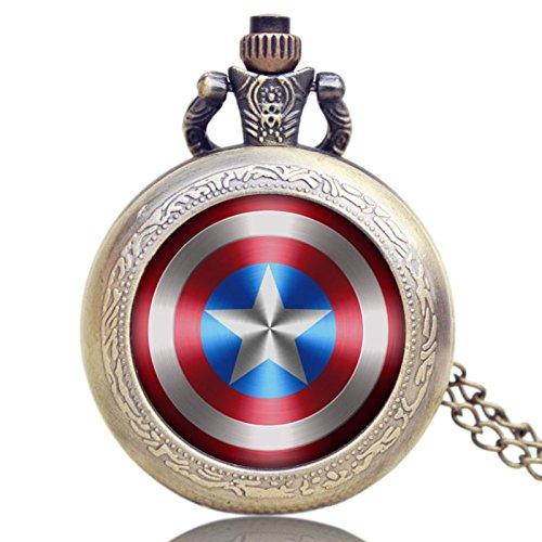 taport® Captain America Bronze Antik Gravur Taschenuhr Quarz + Gratis Ersatz Batterie + Gratis Geschenkverpackung - 3