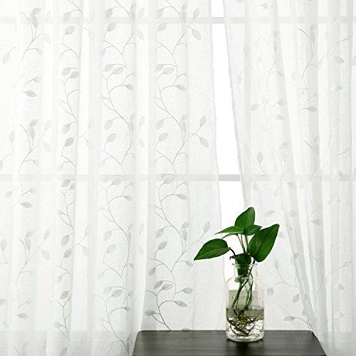 Deconovo tende voile ricamate foglie pattern tende trasparenti con occhielli per bambini 140x180 cm bianco due pannelli