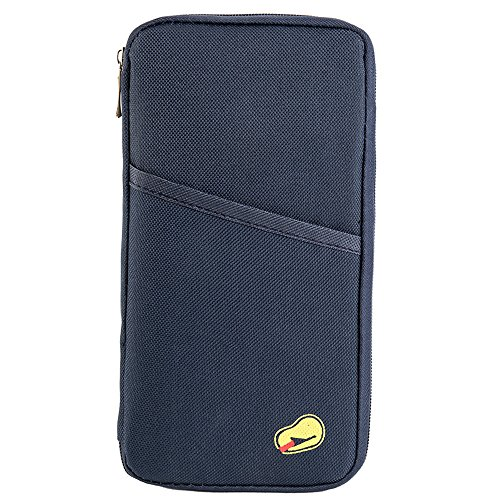 ZhongYeYuanDianZiKeJi Portadocumentos para Viajes Billetera de Pasaporte Organizador Funda de Pasaporte de Multifuncional para tarjeta billete de dinero móvil resistente (Azul marino)