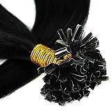 Bonding Extensions Echthaar Remy Haarverlängerung U-Tip 200 Strähnen Keratin Human Hair 100g-55cm(#1 Schwarz)