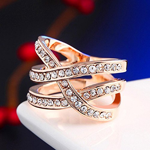HuaYang luxe romantique rose or plaqué bague croisée zircon bijoux cadeau(Ring Size US9)