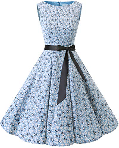 bbonlinedress 50s Retro Schwingen Vintage Rockabilly Kleid Cocktail Faltenrock Little Flowers 2XL